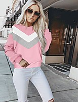 cheap -Women's Daily Pullover Sweatshirt Color Block Casual Hoodies Sweatshirts  Loose Black Blue Blushing Pink