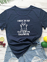 cheap -Women's Halloween T-shirt Graphic Prints Letter Print Round Neck Tops 100% Cotton Basic Halloween Basic Top White Black Purple