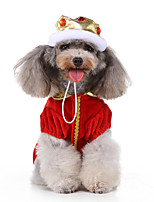 cheap -Dog Halloween Costumes Costume Dress Prince Casual / Sporty Cute Christmas Party Dog Clothes Breathable Red Costume Polyester S M L XL