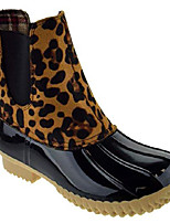 cheap -duck 08 womens two tone pull on rain duck boots,leopard,6