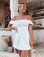 cheap -Women's A-Line Dress Short Mini Dress - Short Sleeve Solid Color Backless Summer Strapless Sexy Slim 2020 White S M L