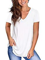 cheap -v neck t-shirts for women short sleeve summer cotton tops white l