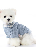 cheap -Dog Coat Sweater Plaid / Check Casual / Daily Cute Casual / Daily Winter Dog Clothes Warm Blue Pink Costume Polyster XS S M L XL