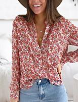 cheap -Women's Blouse Shirt Floral Flower Long Sleeve Print Shirt Collar Tops Basic Basic Top Black Blushing Pink