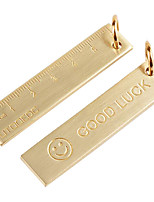 cheap -1 PCS 6cm Small Copper Ruler 3mm Thickened Brass Metal Ruler Copper Key Pendant Number Plate Drafting Supplies Mini Rulers