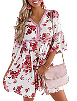 cheap -Women's Swing Dress Knee Length Dress - Short Sleeve Print Print Summer V Neck Casual Mumu Holiday Loose 2020 White S M L XL XXL 3XL