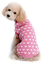 cheap -pet dog sweater coats love heart pet dog sweater cute puppy pullover sweater knitwear tops doggy clothes pink