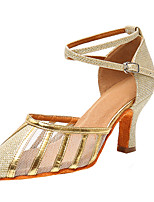cheap -Women's Latin Shoes Heel Flared Heel Mesh Buckle Gold / Silver