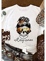 cheap -Women's T-shirt Letter Bull Print Round Neck Tops 100% Cotton Basic Basic Top White Purple Red