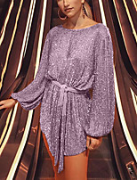 cheap -Women's A-Line Dress Short Mini Dress - Long Sleeve Solid Color Sequins Patchwork Spring Casual Puff Sleeve Slim 2020 Blushing Pink S M L XL XXL