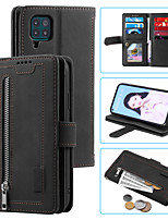 cheap -Case For Huawei P40 lite  Card Holder Shockproof Flip Full Body Cases Solid Colored PU Leather TPU zipper
