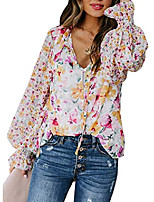 cheap -womens casual floral print v neck button down bell sleeves stylish tops loose blouse shirts pullover& #40;s-2xl& #41;