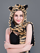 cheap -Adults' Hat Kigurumi Pajamas Tiger Onesie Pajamas Flannelette Brown Cosplay For Men and Women Animal Sleepwear Cartoon Festival / Holiday Costumes