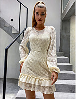 cheap -Women's Sheath Dress Short Mini Dress - Long Sleeve Solid Color Lace Ruffle Summer Fall Formal Elegant Daily Going out Lantern Sleeve 2020 Beige S M L