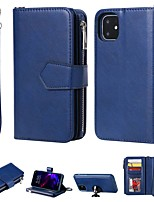 cheap -Case For Apple iPhone SE 2020 iPhone 11 Pro iPhone 11 Pro Max XR XS Max 7 8 Plus 6 6s Plus 5s 5G Wallet Card Holder with Stand Full Body Cases Solid Colored PU Leather