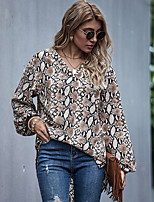 cheap -Women's Blouse Leopard Long Sleeve Pleated Patchwork Print V Neck Tops Basic Basic Top Khaki