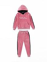 cheap -Kids Girls' Basic Print Solid Colored Print Long Sleeve Regular Regular Clothing Set Purple