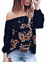 cheap -women vintage off shoulder chiffon top summer boho floral embroidery long sleeve blouse t-shirt size s (black)