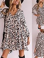 cheap -Women's A-Line Dress Short Mini Dress - Long Sleeve Leopard Ruffle Fall V Neck Casual Slim 2020 White S M L XL XXL 3XL