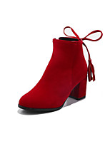 cheap -Women's Boots Wedge Heel Round Toe Minimalism Daily Tassel Solid Colored Nubuck Booties / Ankle Boots Black / Red / Beige