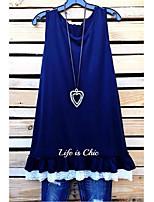 cheap -Women's A-Line Dress Short Mini Dress - Sleeveless Solid Color Letter Print Fall Casual Daily Loose 2020 Black Blue Purple Dusty Blue S M L XL XXL XXXL XXXXL XXXXXL