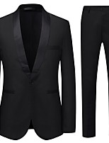cheap -Tuxedos Tailored Fit / Standard Fit Shawl Collar Single Breasted One-button Cotton Blend / Cotton / Polyester Solid Colored