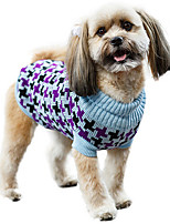 cheap -Dog Cat Coat Sweater Color Block Casual / Daily Cute Casual / Daily Winter Dog Clothes Warm Blue Pink Green Costume Plush XS S M L XL XXL