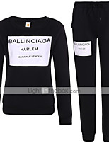 cheap -Women's Sweatsuit 2 Piece Set Pullover Sweatshirts Black Color Block Jewel Neck Solid Color Cute Sport Athleisure Sweatshirt and Pants Outfits Long Sleeve Comfortable Everyday Use Causal Daily Casual