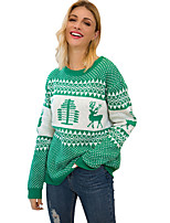 cheap -Women's Christmas Animal Sweater Long Sleeve Sweater Cardigans Crew Neck Round Neck Spring Fall Red Green Navy Blue