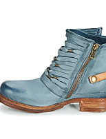 cheap -Women's Boots Cuban Heel Round Toe Casual Basic Daily Flower PU Booties / Ankle Boots Walking Shoes Blue / Beige / Gray