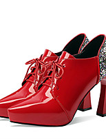 cheap -Women's Heels Wedge Heel Pointed Toe Classic Daily Sequin Solid Colored PU Black / Red