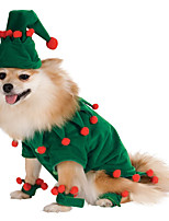 cheap -Dog Cat Costume Character Cosplay Winter Dog Clothes Green Costume Flannel Fabric S M L XL