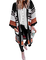 cheap -Women's Basic Knitted Striped Cardigan Long Sleeve Loose Sweater Cardigans V Neck Fall Winter Yellow Brown