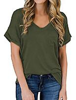cheap -women summer v neck t shirts basic tee tops plus size blouse shirt army green xl