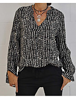cheap -Women's Blouse Shirt Graphic Prints Long Sleeve Print V Neck Tops Loose Basic Basic Top White Black