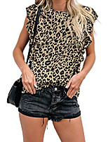 cheap -women& #39;s t shirt leopard print tops short sleeve casual cotton round neck cute blouse & #40;leopard08, x-large& #41;