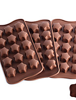 cheap -Cake Mold Christmas Silicone Cake Molds Everyday Use Creative 15 Connected Five Point Star Mold Silicone Chocolate Mold