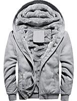 cheap -Men's Hiking Fleece Jacket Winter Outdoor Solid Color Thermal Warm Windproof Breathable Detachable Cap Winter Jacket Cotton Ski / Snowboard Winter Sports Outdoor Black / Red / Grey / Dark Blue