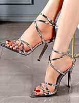 cheap -Women's Sandals Stiletto Heel Pointed Toe Sexy Daily Solid Colored Patent Leather Silver