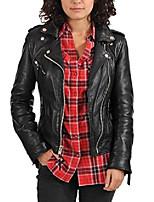 cheap -women's biker moto leather jacket (m) black