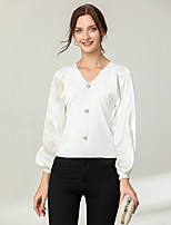 cheap -Women's Blouse Solid Colored Long Sleeve Patchwork Button V Neck Tops Lantern Sleeve Slim Basic Basic Top White Black Beige