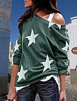 cheap -Women's T-shirt Star Long Sleeve Print One Shoulder Tops Basic Basic Top Light Green