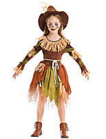 cheap -Scarecrow Dress Cosplay Costume Outfits Kid's Girls' Cosplay Halloween Halloween Festival / Holiday Polyester Brown Easy Carnival Costumes / Belt / Hat / Belt / Hat