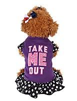 cheap -pet dress, summer cute pet puppy small dog cat mommy little love print apparel clothes fly sleeve dress (purple, xs)