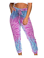 cheap -Women's Basic Daily Chinos Pants Tie Dye Print Comfort Purple Blushing Pink Rainbow S M L