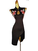 cheap -Latin Dance Dress Tassel Appliques Women's Training Sleeveless High Microfiber