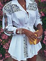 cheap -Women's Shirt Dress Short Mini Dress - 3/4 Length Sleeve Letter Print Fall V Neck Work Casual Daily Weekend Slim 2020 White Black Red S M L XL XXL