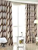 cheap -Two Panel European Style Striped Jacquard Blackout Curtains Living Room Bedroom Dining Room Children's Room Curtains