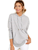 cheap -Women's Daily Pullover Hoodie Sweatshirt Striped Basic Hoodies Sweatshirts  White Gray
