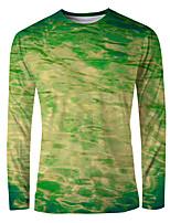 cheap -Men's Daily T-shirt Graphic Long Sleeve Tops Basic Elegant Round Neck Green